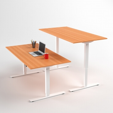 hoj-och-sankbart-skrivbord-vitt-stativ-och-bok-skiva